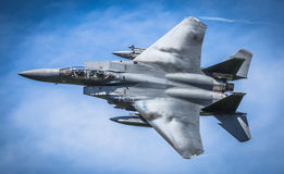 Amerikanische Düsenflugzeug des Militärs F15 Stockfotos