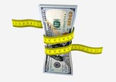 amerikanische Dollar 3D Währung mit Scheren stock abbildung