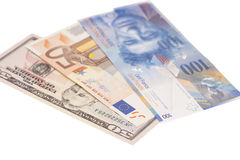 Amerikanische Dollar, europäischer Euro, Währung des Schweizer Franken Stockfoto