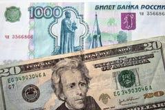Amerikanische Dollar und russischer Rubel Stockbild