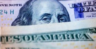 Amerikanische Dollar von Schatz und von Zentralbank Vereinigter Staaten mit Porträts von USA-Präsidenten Stockbild