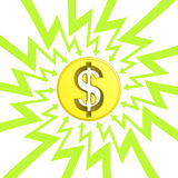 Amerikanische Dollarmünze im Pfeilzickzack-Kreisvektor Stockfotos