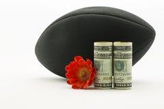 Amerikanische Dollarwährung und rote Blume vor schwarzem footba lizenzfreie stockfotografie