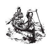 Amerikanische erste Nationsleute im Birken-Kanu lizenzfreie abbildung