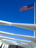 Amerikanische Flagge auf Arizona-Denkmal Stockbild