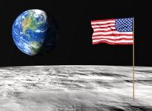 Amerikanische Flagge auf dem Mond vektor abbildung