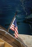 Amerikanische Flagge auf einem Boot Stockfotos