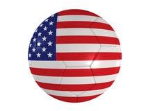 Amerikanische Flagge auf einem Fußball lizenzfreie abbildung