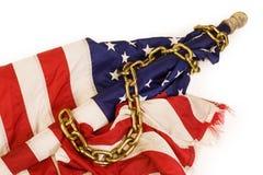 Amerikanische Flagge in den Ketten stockfotografie