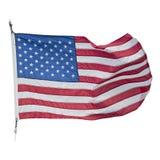 Amerikanische Flagge, die auf weißen Hintergrund wellenartig bewegt lizenzfreie stockfotos
