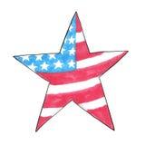 Amerikanische Flagge in Form eines Sternes Von Hand gezeichnetes Bild in der Markierungsart Skizze mit Filzstiften USA Feiern Lizenzfreies Stockfoto
