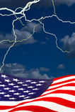 Amerikanische Flagge im Sturm Stockbilder