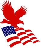 Amerikanische Flagge mit Adler Lizenzfreies Stockfoto