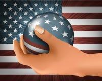 Amerikanische Flagge mit dem Ball Stockfotografie