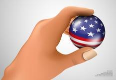Amerikanische Flagge mit dem Ball Lizenzfreie Stockfotografie