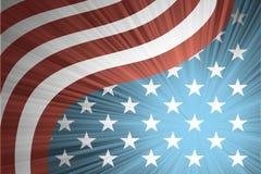 Amerikanische Flagge mit den Strahlen Lizenzfreie Stockbilder