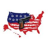 Amerikanische Flagge mit Einschusslöchern und Gewehr-Vektor stock abbildung