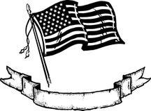 Amerikanische Flagge u. Fahne Lizenzfreies Stockbild