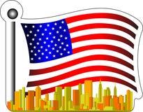 Amerikanische Flagge und Stadt stock abbildung