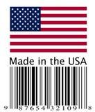 Amerikanische Flagge und Strichkode Stockbild
