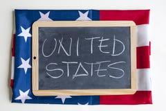 Amerikanische Flagge, welche die Staaten von Amerika feiert Lizenzfreies Stockfoto