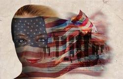 Amerikanische Freiheit-Markierungsfahnen-Frau Lizenzfreie Stockbilder