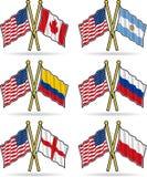 Amerikanische Freundschaft-Markierungsfahnen Stockfotos
