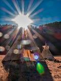 Amerikanische gebürtige Zeltlagertipi stockbild