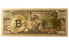 Amerikanische Goldbanknote und bitcoin Stockbilder