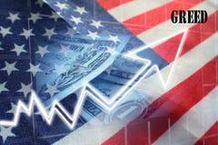 Amerikanische Habsucht für mehr Gewinn-hohe Qualität stockfotografie