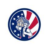 Amerikanische Haus-Abbau USA-Flaggen-Ikone Lizenzfreie Stockfotografie