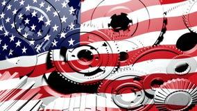 Amerikanische Industrie - USA-Flaggen-Gang-Drehen (Schleife) lizenzfreie abbildung