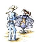 Amerikanische Jeans und russisches Schweißhemd Stockfotos
