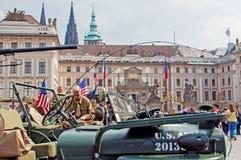 Amerikanische Jeeps und Veterane Stockfoto