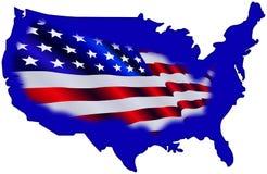 Amerikanische Karte und Markierungsfahne Lizenzfreies Stockbild