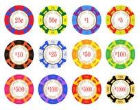 Amerikanische Kasino-Chips Stockfotos