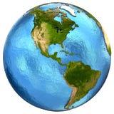 Amerikanische Kontinente auf Erde Stockfotografie