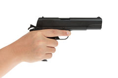 Amerikanische legendäre Pistole auf Militärmodell des weißen Hintergrundes herein Stockfotografie