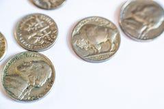 Amerikanische Münzen Einige sind alt historisch Lizenzfreie Stockfotografie