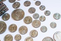 Amerikanische Münzen Einige sind alt historisch Stockfotos
