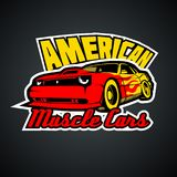 Amerikanische Muskelautos T-Shirt Druckschablone vektor abbildung