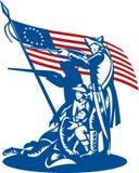 Amerikanische Patrioten, die Markierungsfahne kämpfen Lizenzfreies Stockfoto