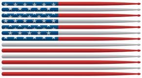 Amerikanische Schlagzeugerflagge mit rotem, weißem und blauem Sternenbanner trommeln haftet lokalisierte Vektorillustration lizenzfreie abbildung