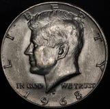 Amerikanische silberne Halbdollarmünze Coin (1968) Lizenzfreies Stockfoto