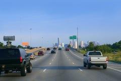 Amerikanische Straßenmethode zur Houston-Stadt im Stadtzentrum gelegen lizenzfreie stockfotos