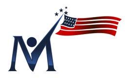 Amerikanische Unabhängigkeitstag-Initiale M Lizenzfreies Stockbild