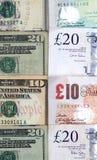 Amerikanische und britische Währung Lizenzfreies Stockbild