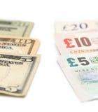 Amerikanische und britische Währung Stockfoto