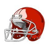 Amerikanische Vektorillustration des Football-Helms rote Farb Lizenzfreie Stockfotos