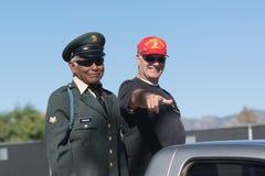 Amerikanische Veterane auf dem LKW lizenzfreies stockbild